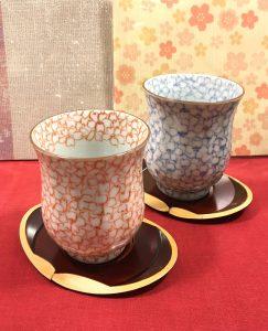 京焼き  桜柄湯のみ