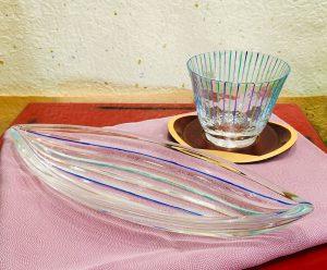 京の色絵ガラス『十草』 舟形皿(5枚組)/  冷茶グラス(5個組)