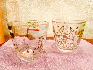 京の色絵ガラス   『鳥獣戯画  冷茶グラス』