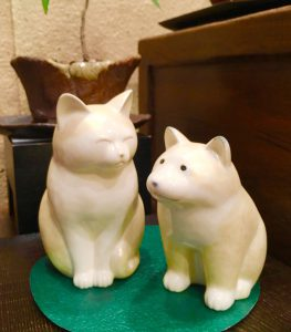 京焼   佳林 置物 『猫』『仔犬』