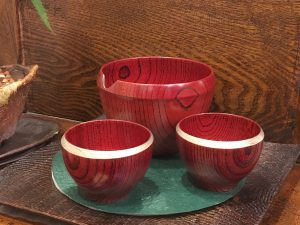 欅・赤摺酒器 『三日月片口』『三日月ぐい呑』
