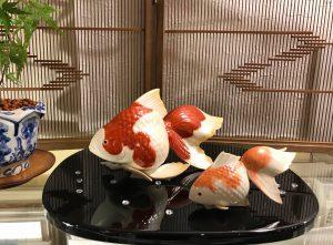 京焼 佳林作 金魚置物