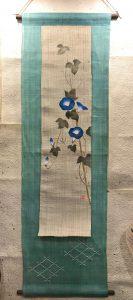 刺繍タペストリー『藍朝顔』