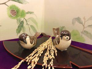 京焼 雀置物『稔りの秋』