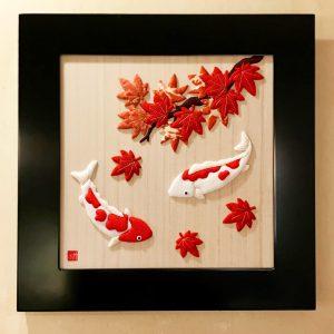 押絵額飾り『紅葉と錦鯉』